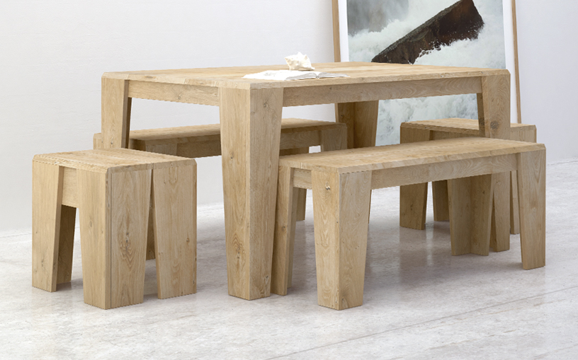 Table d ner 140 x 90 100 ch ne massif atelier bud for Table exterieur en bois massif